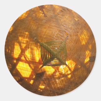 Golden Weave Round Sticker