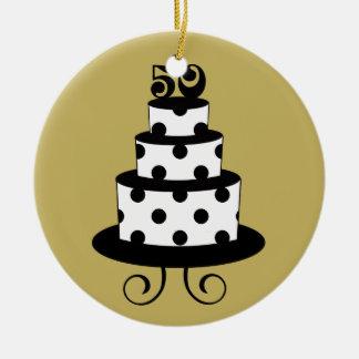 Golden Wedding 50th Anniversary Keepsake Round Ceramic Ornament