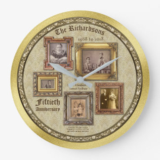Golden Wedding Anniversary Antique Frames Collage Wallclock