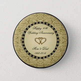 Golden Wedding Anniversary Button
