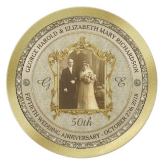 Golden Wedding Anniversary Classic Photo Frame Plate