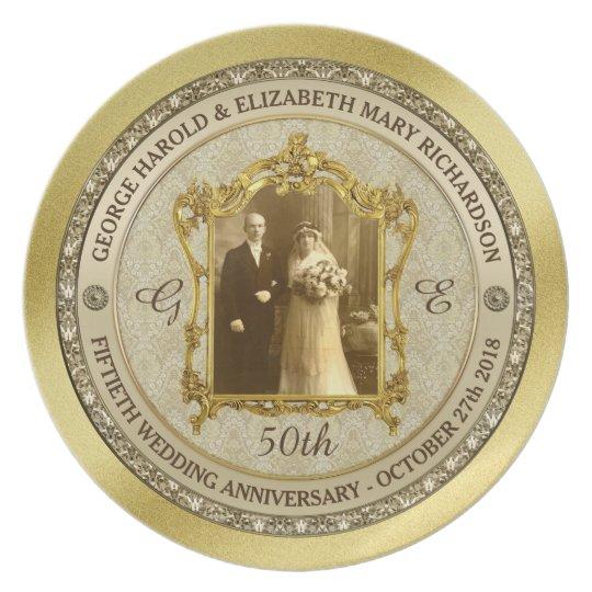 Golden Wedding Anniversary Classic Photo Frame Plate