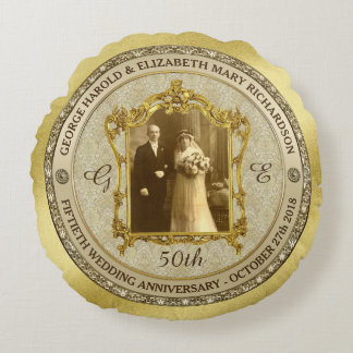 Golden Wedding Anniversary Classic Photo Frame Round Pillow