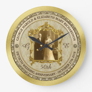Golden Wedding Anniversary Classic Photo Frame Wallclock