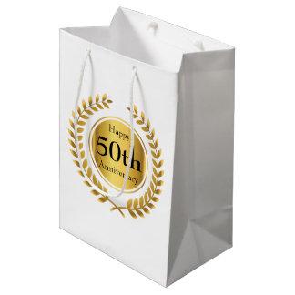 Golden Wedding Anniversary Custom Medium Gift Bag