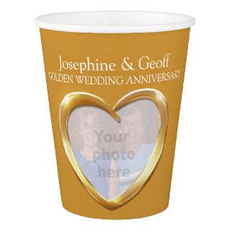 Golden wedding anniversary custom paper cups