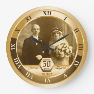Golden Wedding Anniversary Customizable Photo Gift Clocks