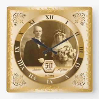 Golden Wedding Anniversary Customizable Photo Gift Wall Clock