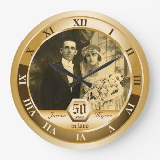 Golden Wedding Anniversary Customizable Photo Gift Wallclock