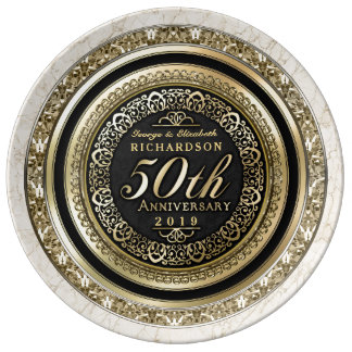 Golden Wedding Anniversary Faux Gold Black Marble Plate