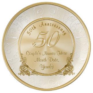 Golden Wedding Anniversary Gifts with Your Text Plate