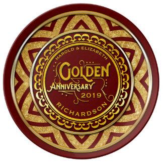 Golden Wedding Anniversary Gold Glitter Deep Red Plate