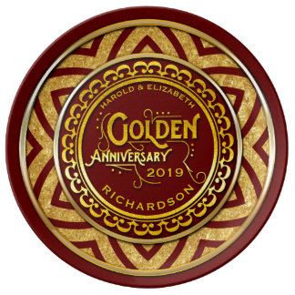 Golden Wedding Anniversary Gold Glitter Deep Red Porcelain Plates