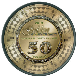 Golden Wedding Anniversary Gold Green Art Deco Porcelain Plate