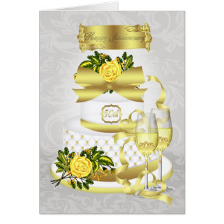 Golden Wedding Anniversary Greeting Card With Cake