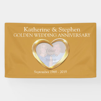 Golden Wedding anniversary heart photo banner