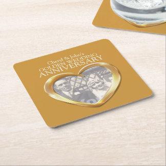 Golden wedding anniversary heart photo coasters