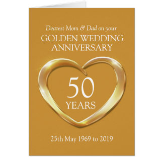 Golden wedding anniversary mom and dad card