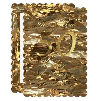 Golden Wedding Anniversary Parents Gold Elegant Card