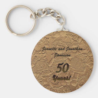 Golden Wedding Anniversary Party Favor Key Chain