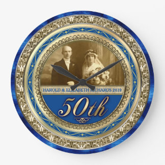 Golden Wedding Anniversary Photo Gold Royal Blue Large Clock