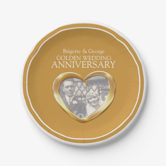 Golden Wedding Anniversary photo heart paper plate 7 Inch Paper Plate