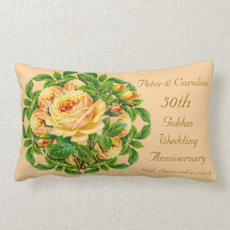 Golden Wedding Anniversary Rose Throw Pillow