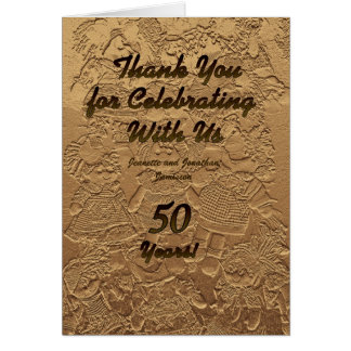 Golden Wedding Anniversary Thank You Note Dolls Note Card