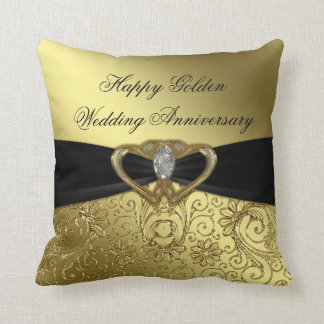 Golden Wedding Anniversary Throw Pillow