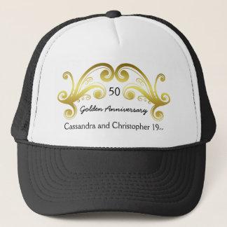 Golden wedding anniversary trucker hat
