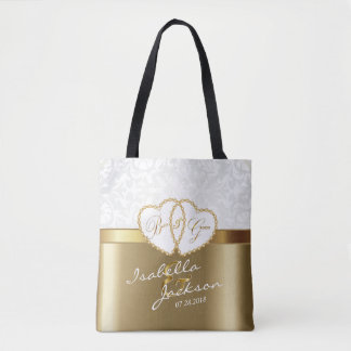 Golden Wedding Bride & Groom Keepsake Tote Bag