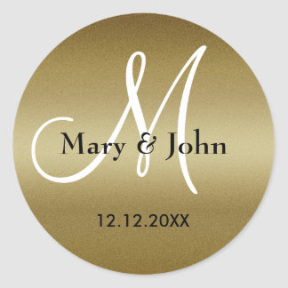 Golden Wedding Monogram Seals Round Sticker