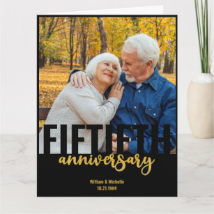 Golden Wedding Photo Modern 50th Anniversary Card