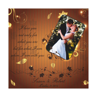 Golden wedding picture frame canvas print