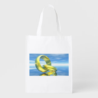 Golden wedding rings - 3D render Reusable Grocery Bag