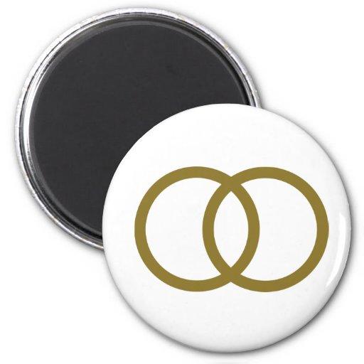 Golden wedding rings refrigerator magnets