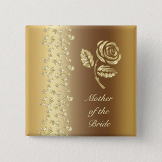Golden Wedding rose and hearts name 2 Inch Square Button