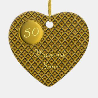 Golden Wedding Template Ceramic Heart Ornament