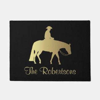 Golden Western Pleasure Horse on Black Doormat