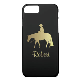 Golden Western Pleasure Horse on Black iPhone 7 Case