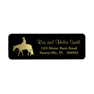 Golden Western Pleasure Horse on Black Return Address Label
