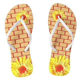 Golden Wheat Bricks on Red Accent Sunflower Flip Flops