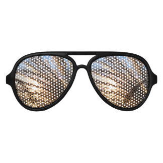 Golden Wheat Light Rays with a blending night star Aviator Sunglasses