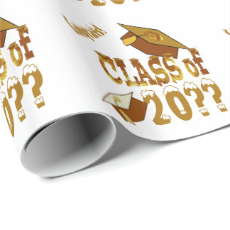 Golden White Graduation Hats Class Wrapping Paper