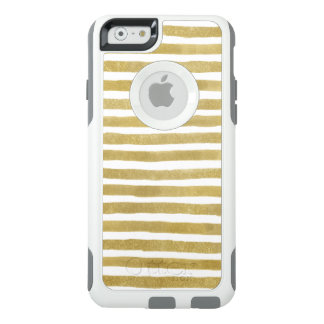Golden White Watercolor Stripes iPhone Otterbox