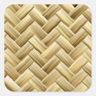 Golden Wicker Basket Weave Textured Square Sticker