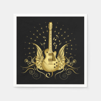 Golden Winged Guitar Disposable Napkin