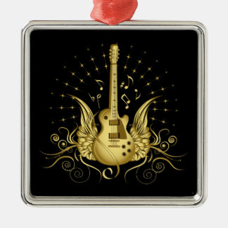 Golden Winged Guitar Silver-Colored Square Ornament