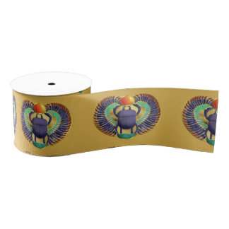 Golden Winged Scarab Grosgrain Ribbon