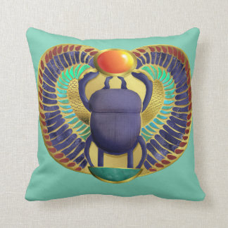 Golden Winged Scarab Throw Pillow